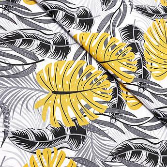 """Польская хлопковая ткань """"Листья пальм желто-черные на белом"""""""