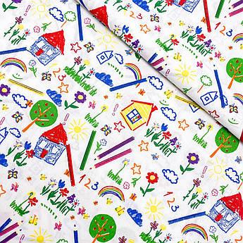 """Польская хлопковая ткань """"Детский рисунок разноцветный"""""""
