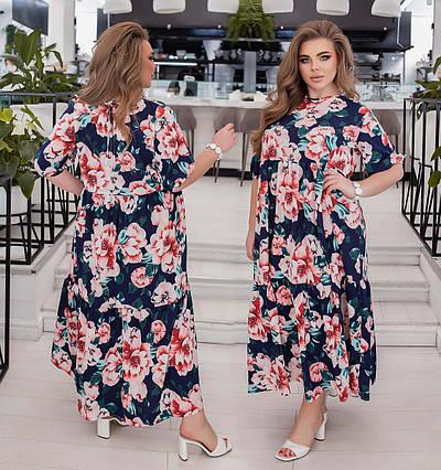 """Женское летнее платье до больших размеров 1989 """"Софт Цветы Завязка"""" в расцветках"""