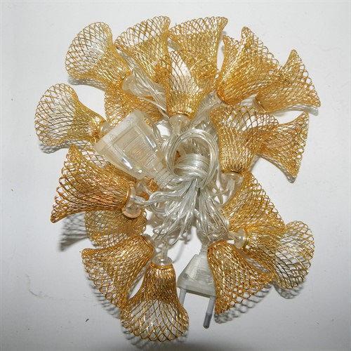 Гірлянда 20 led warm white колокольчик об`ємний GOLD metal