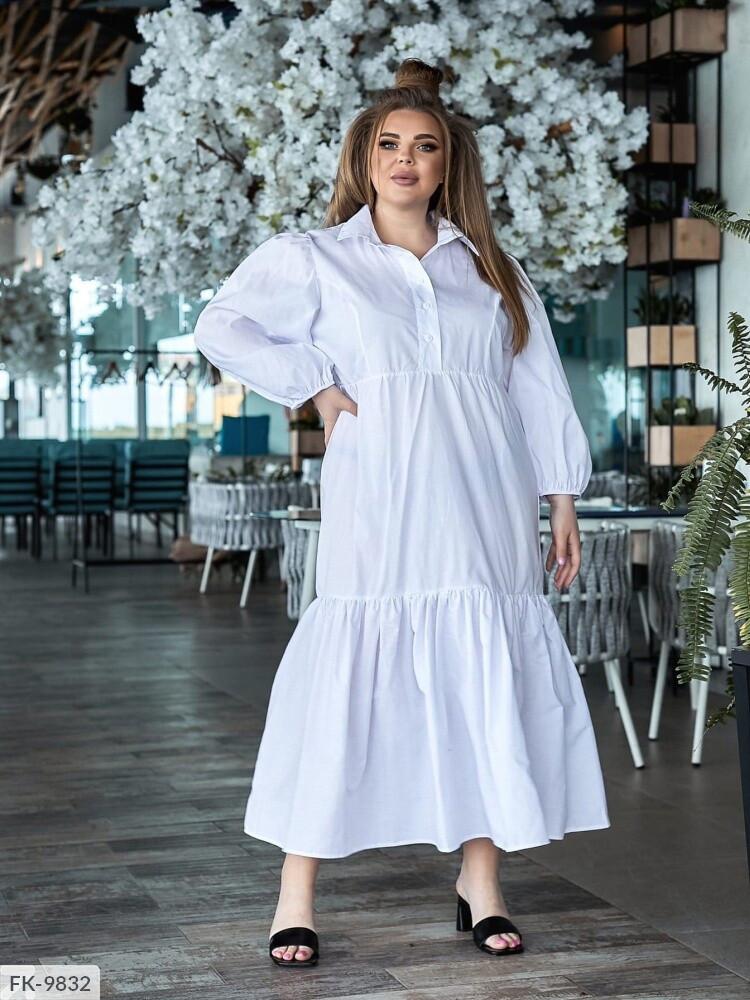 Довге плаття жіноче, вільного крою верх сорочкою рукава ліхтарик великі розміри 48-56 арт. 5133