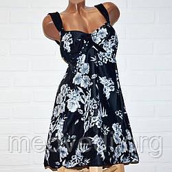 Черный купальник платье 66 размер, шикарный танкини для больших дам