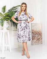 Платье миди а-силуэта с поясом  р-ры 50-62 арт. 0343, фото 1