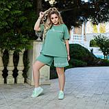 Летний женский батальный спортивный костюм с шортами и свободной футболкой (р.50-60)., фото 3