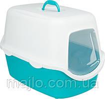 Туалет Trixie Vico для котов 40х40х56 см бирюзовый/белый  пластик 40275