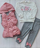 """Костюм трійка дитячий модний з бантиками дівчинку 2-5 років (4кол) """"MARI"""" купити недорого від прямого постачальника"""