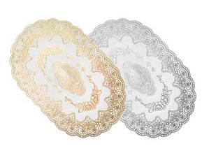 Скатертина-серветка золото/срібло овальна/квадратна 45х30см. 409 (12)