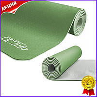 Коврик мат для йоги и фитнеса 4FIZJO 6 мм зеленый серый нескользящий каремат для пилатеса аэробики спорта