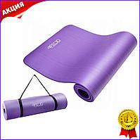 Коврик мат для йоги и фитнеса 4FIZJO 1.5см Violet фиолетовый нескользящий каремат для пилатеса аэробики спорта