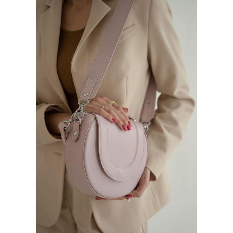 Женская кожаная сумка Mandy пудровая