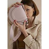 Женская кожаная сумка Mandy пудровая, фото 2