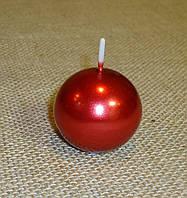 Свеча шар 4 см металлик красный