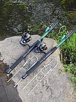 Удочки дальнего заброса 2,7м Рыболовный набор 2шт спиннинги в сборе с катушкой + подставки в подарок