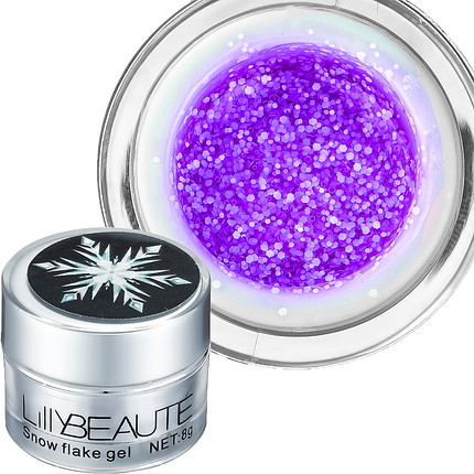 Глиттерный гель Snow Flake Lilly Beaute 06 8 г, фиолетовый, фото 2