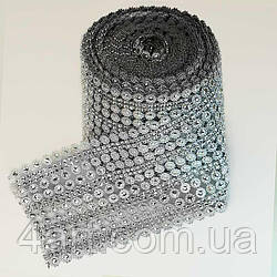 "Шина стразовая серебро ""Цветы 2 х 2"", ширина 12 см, 9 м."