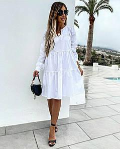 Женское платье. Ткань:Котон мемори. Цвет:белый,беж,мокко,чёрный. Размер:42-46. 48-52.