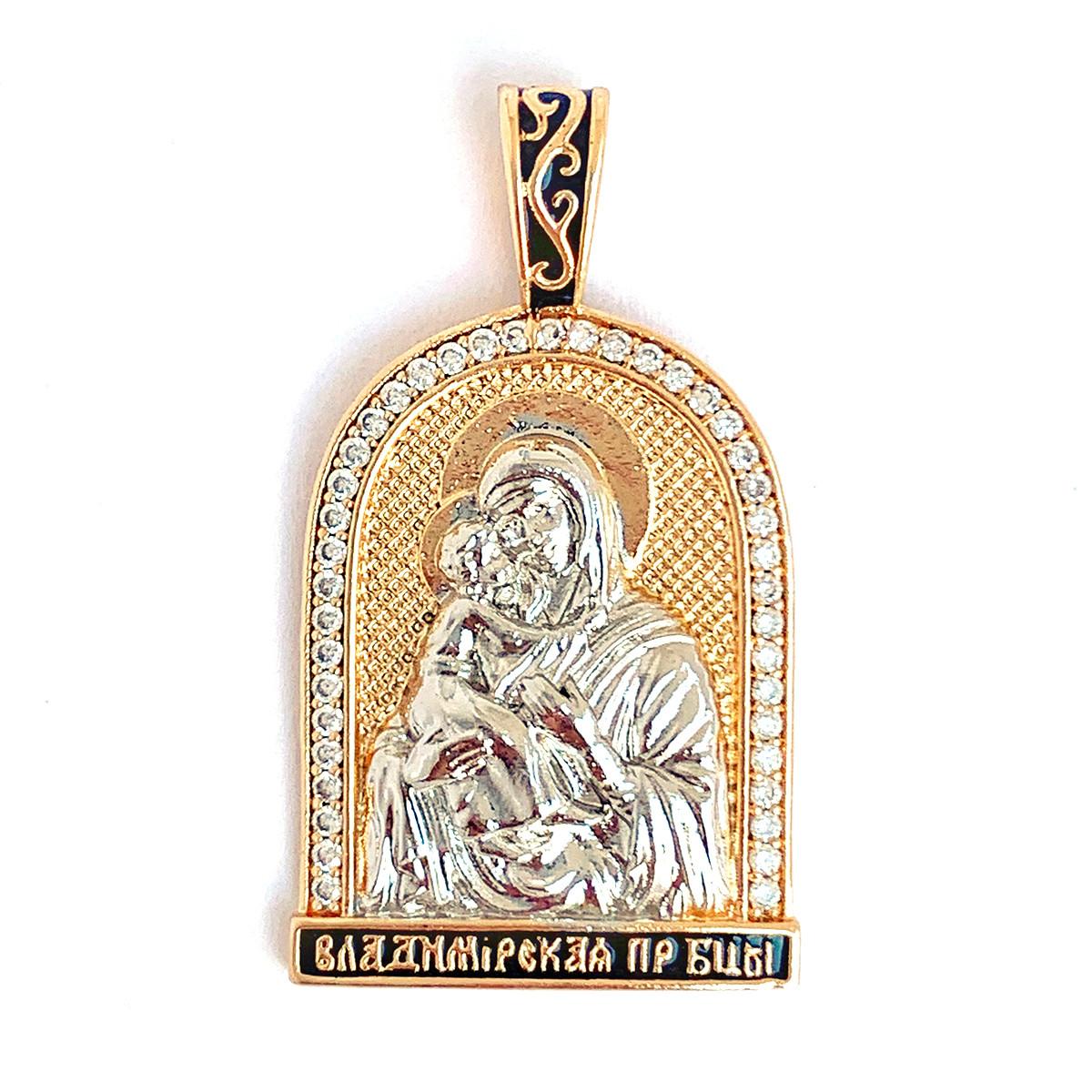 """Иконка Xuping """"Владимирская икона Божией Матери"""" из медицинского золота, белые фианиты, позолота 18K + родий+"""