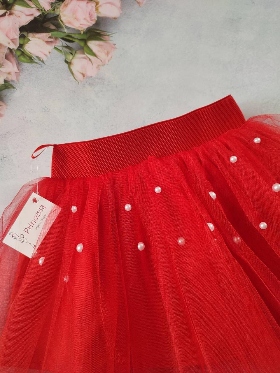 """Шикарная красная детская юбка """"Бусинка"""" фатиновая с бусинами белого цвета. Пошив в любом цвете"""