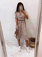 Женское платье миди с рукавами до колен, пояс на резинке, фото 2