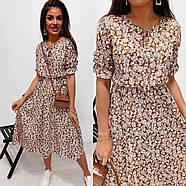 Женское платье миди с рукавами до колен, пояс на резинке, фото 4