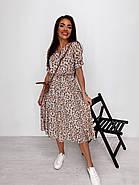 Женское платье миди с рукавами до колен, пояс на резинке, фото 5