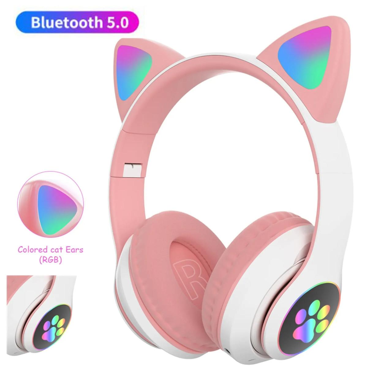 Навушники безпровідні Bluetooth з вушками Cat STN-28 слот для флешки