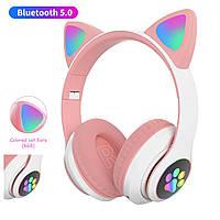 Навушники безпровідні Bluetooth з вушками Cat STN-28 слот для флешки, фото 1