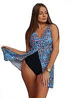 9017-6 Swimdress Слитный купальник - платье Разноцветный абстрактный узор