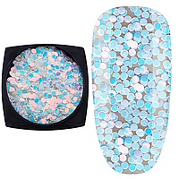 Брокат для декора ногтей Starlet Professional №16, кружки лазурь