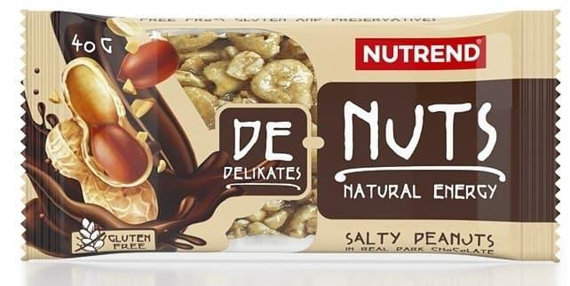 Зерновий Батончик Nutrend De-Nuts 40g солоний арахіс у чорному шоколаді