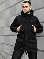 Мужская зимняя классическая парка с капюшоном, модная куртка на зиму, черная