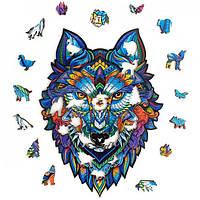 """Деревянный пазл Волк А5 """"Wooden jigsaw puzzle - Magnificent Wolf"""", фигурные пазлы из дерева для взрослых (NS)"""