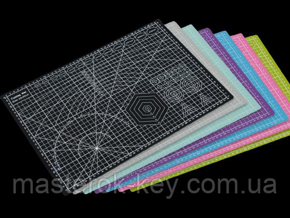 Коврик для раскроя кожи и ткани двухсторонний А3 297 x 420  цвет Ассорти