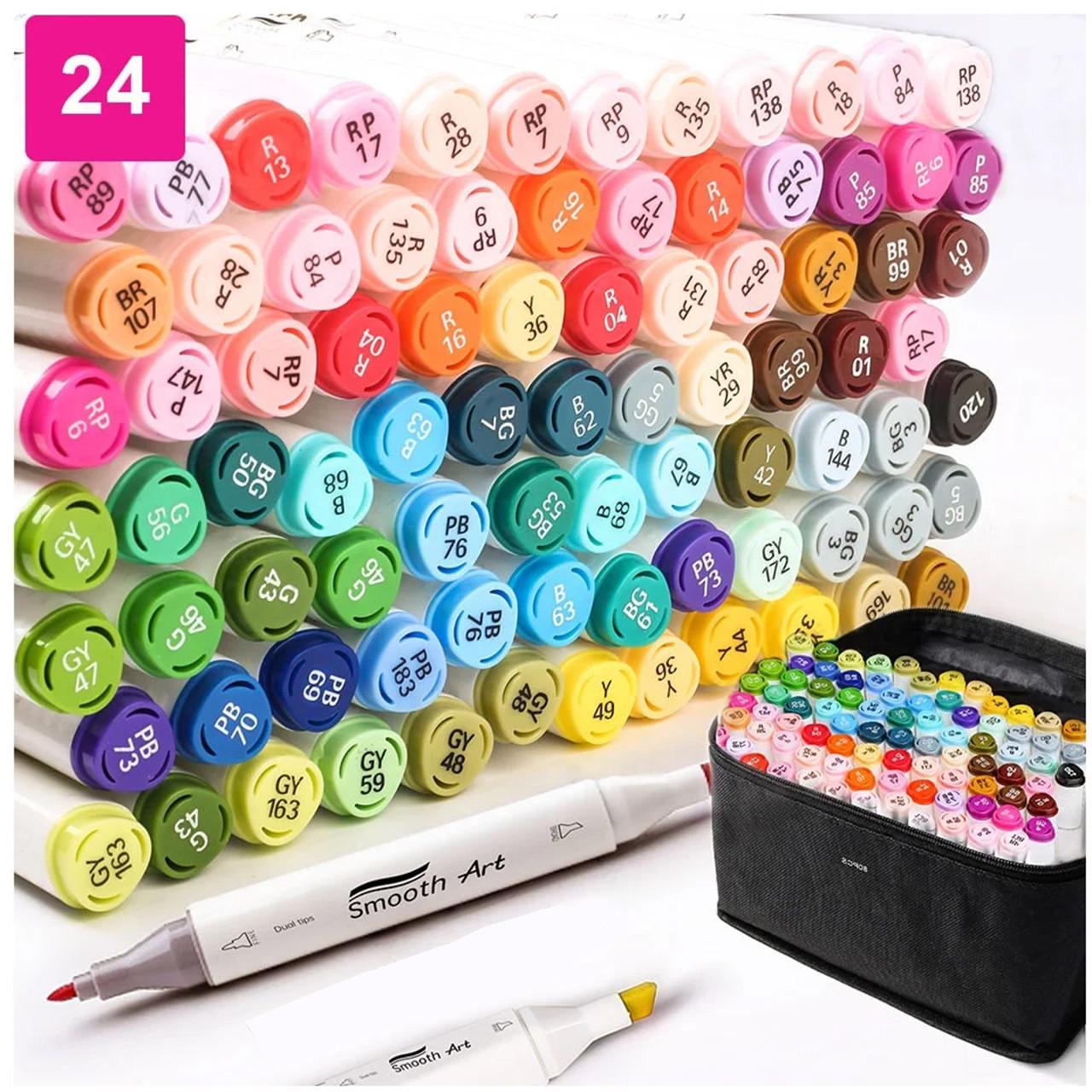 Художні маркери для скетчинга для початківців, Набір двосторонніх маркерів Touch Multiicolor 24 штук