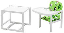 Стільчик - трансформер Babyroom Поні-240 білий пластикова стільниця зелений (сови)