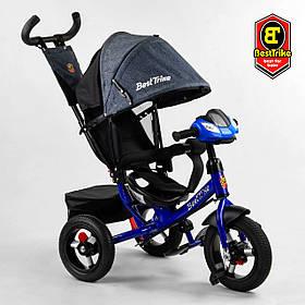 Велосипед триколісний Best Trike 3390/81-338 Синій Джинс | Велосипед-коляска з батьківською ручкою
