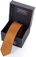 Насыщенный мужской узкий галстук из шелка ETERNO (ЭТЕРНО) EG606 оранжевый