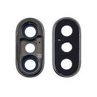 Стекло камеры для Apple iPhone X чёрное с серой рамкой