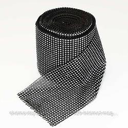 "Шина стразовая ""Серебро на черном"", ширина 12 см, 9 м."