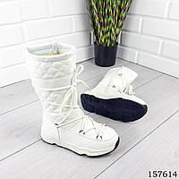 Зимние подростковые сапоги дутики белые
