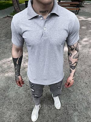 Мужская футболка поло светло-серая с воротником хлопковая