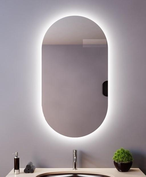 Акция! Овальное зеркало с Led подсветкой для ванной 400*800 мм. Зеркало парящее со светодиодной Лед подсветкой