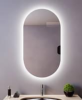 Акція! Овальне дзеркало з Led підсвічуванням для ванної 400*800 мм. Дзеркало мінливе зі світлодіодним Лід підсвічуванням, фото 1