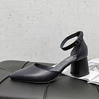 Синие кожаные босоножки на каблуке, фото 1