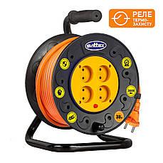 Удлинитель SVITTEX на катушке 25м с сечением провода 2х1,5 мм² и термозащитой! (Оранжевый кабель)