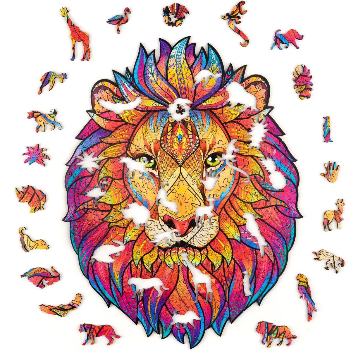 """Пазлы из дерева для взрослых А5 """"Wooden jigsaw puzzle - Mysterious lion"""", фигурный деревянный пазл лев (NS)"""