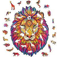 """Пазлы из дерева для взрослых А5 """"Wooden jigsaw puzzle - Mysterious lion"""", фигурный деревянный пазл лев (NS), фото 1"""
