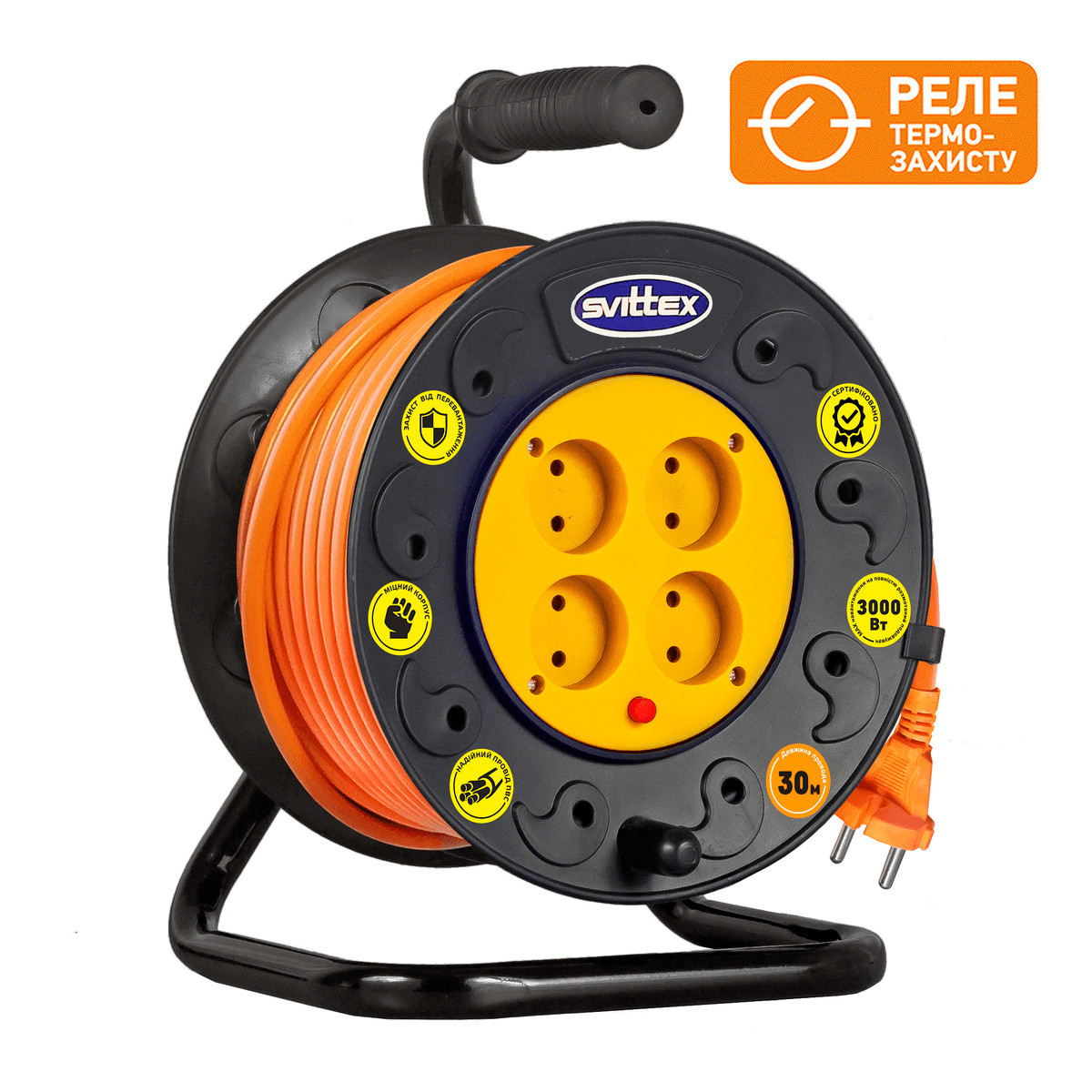 Подовжувач SVITTEX на котушці 30м з перерізом проводу 2х1,5 мм2 і термозахистом!