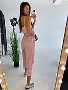 Легкий льняной женский комбинезон, длиною миди, штаны свободного кроя, фото 3