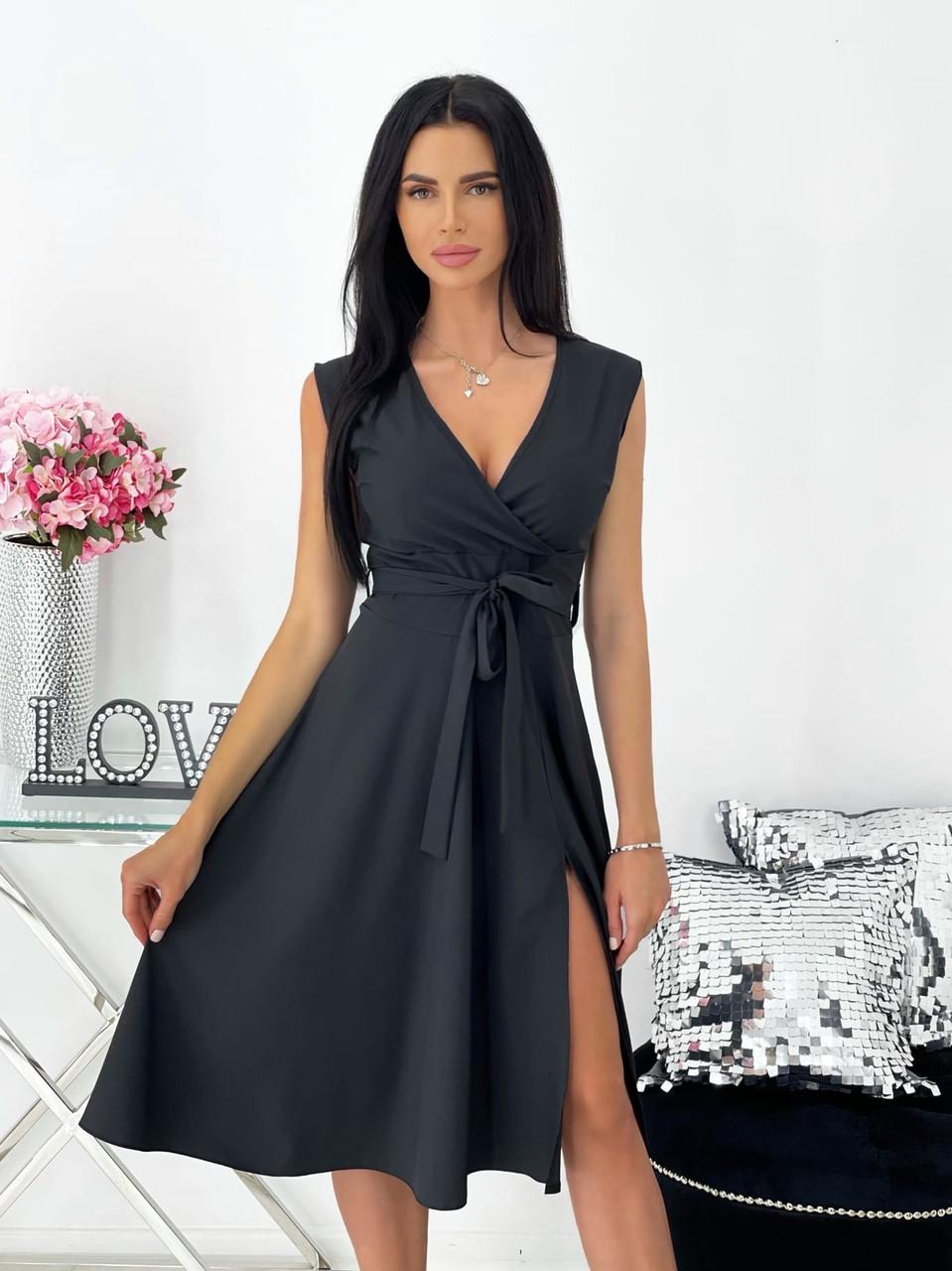 Женское платье миди, без рукавов, с разрезом